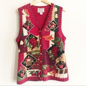 Vintage Sweater Vest Red Fall Knit Heirloom L